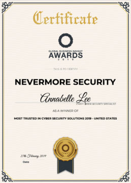 global business insight award for most trusted in cyber security solutions 2019
