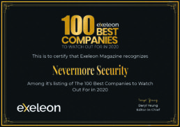 Nevermore Security Named Exeleon 100 Best Companies